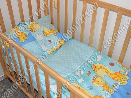 Бортики в детскую кроватку защита бампер Жираф голубой, фото 2