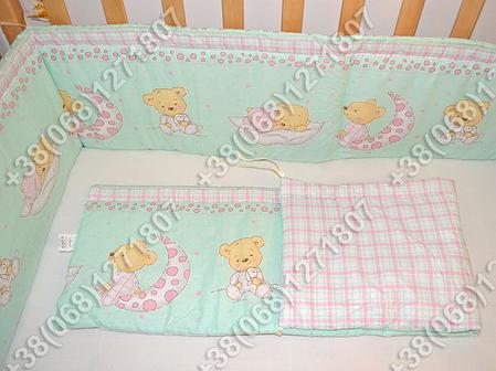 Бортики в детскую кроватку защита бампер Мишка на месяце салатовый, фото 2