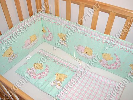 Бортики в детскую кроватку защита со съемными чехлами Мишка на месяце салатовый, фото 2