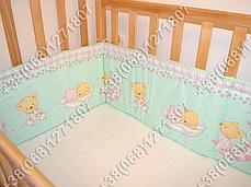 Бортики в детскую кроватку защита бампер Мишка на месяце салатовый, фото 3
