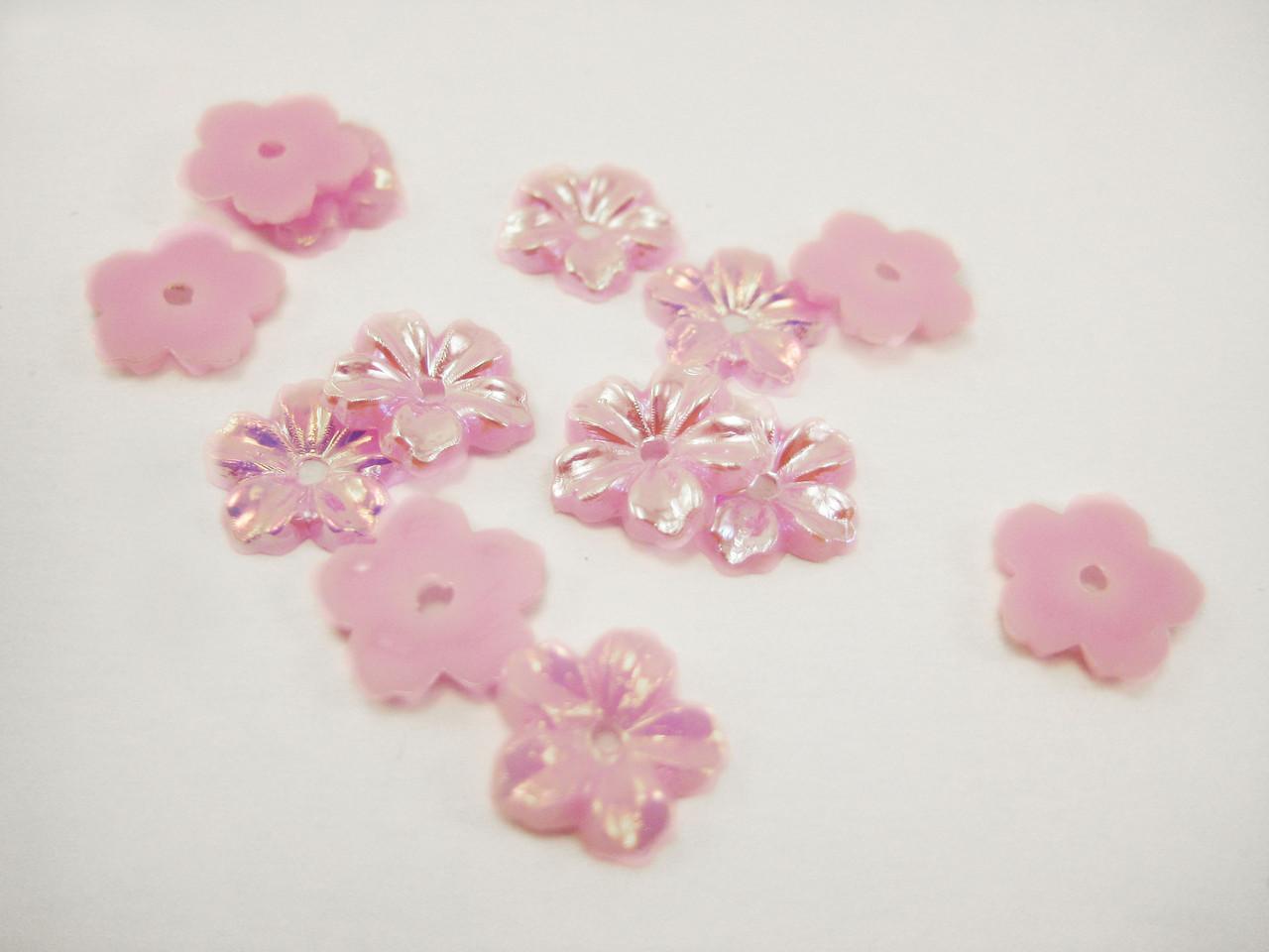"""Бусины """"Цветок"""" розовые с отверстием 14 мм"""