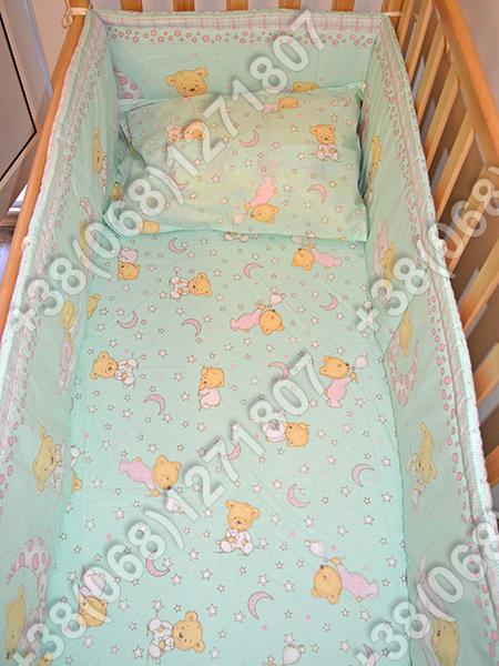 """Детское постельное белье в кроватку """"Бим Бом"""" комплект 7 ед. (мишка на месяце салатовый)"""