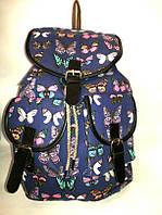 Рюкзак женский синий в бабочки