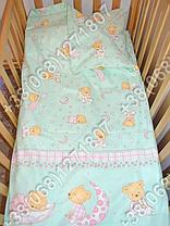 Детское постельное белье и защита (бортик) в детскую кроватку (мишка на месяце салатовый), фото 3