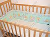 Детское постельное белье и защита (бортик) в детскую кроватку (мишка на месяце салатовый), фото 2