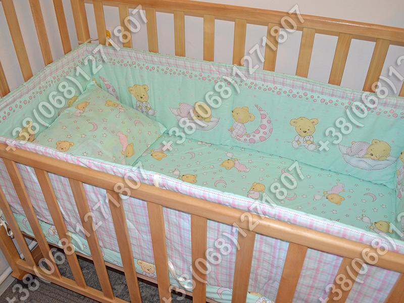 """Детское постельное белье в кроватку """"Бим Бом"""" комплект 5 ед. (мишка на месяце салатовый)"""