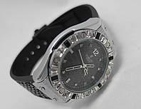 Женкские часы HUBLOT - Geneve черный ремешок рептилия, цвет серебро, украшены кристаллами