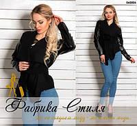 Стильная женская кашемировая курточка, рукава эко-кожа. Черный цвет