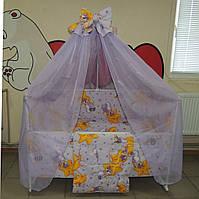 Детское постельное белье фиолетовое Мишки горох Gold 9 в 1