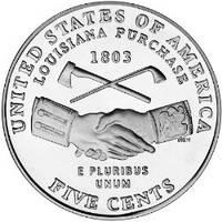 """5 центов США  2004 года, «Покупка Луизианы(«Рукопожатие"""")»., фото 1"""