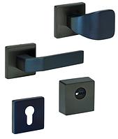 Фурнитура защитная ROSTEX R1 QUADRUM  Титан PVD чорний матовий  для дверей толщ. 38-45мм