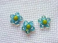 Декор для бантов и скрапбукинга.   Голубой цветок.