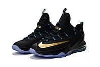 Мужские баскетбольные кроссовки Nike LeBron 13 Low (Black/Gold-Blue), фото 1