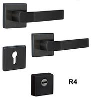 Фурнитура защитная ROSTEX R4 QUADRUM  Титан PVD чорний матовий  для дверей толщ. 38-45мм