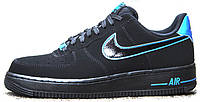 Мужские кроссовки Nike Air Force 1 Low Black x Photo Blue, найк, аир форс