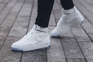 Мужские кроссовки Nike Air Force 1 Ultra Flyknit Mid White Pure Platinum 818018 100, Найк Аир Форс, фото 2