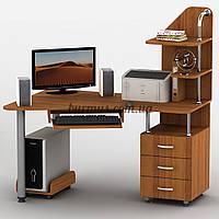 Эргономичный компьютерный стол с тумбами Тиса-7, орех лесной