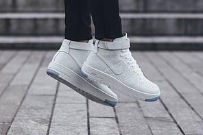 Мужские кроссовки Nike Air Force 1 Ultra Flyknit Mid White Pure Platinum 818018 100, Найк Аир Форс, фото 3