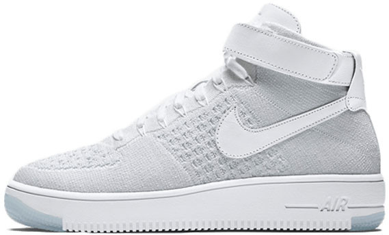 Мужские кроссовки Nike Air Force 1 Ultra Flyknit Mid White Pure Platinum 818018 100, Найк Аир Форс