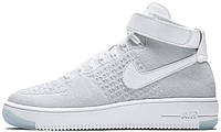 Мужские кроссовки Nike Air Force 1 Mid Ultra Flyknit White Pure Platinum, найк, аир форс