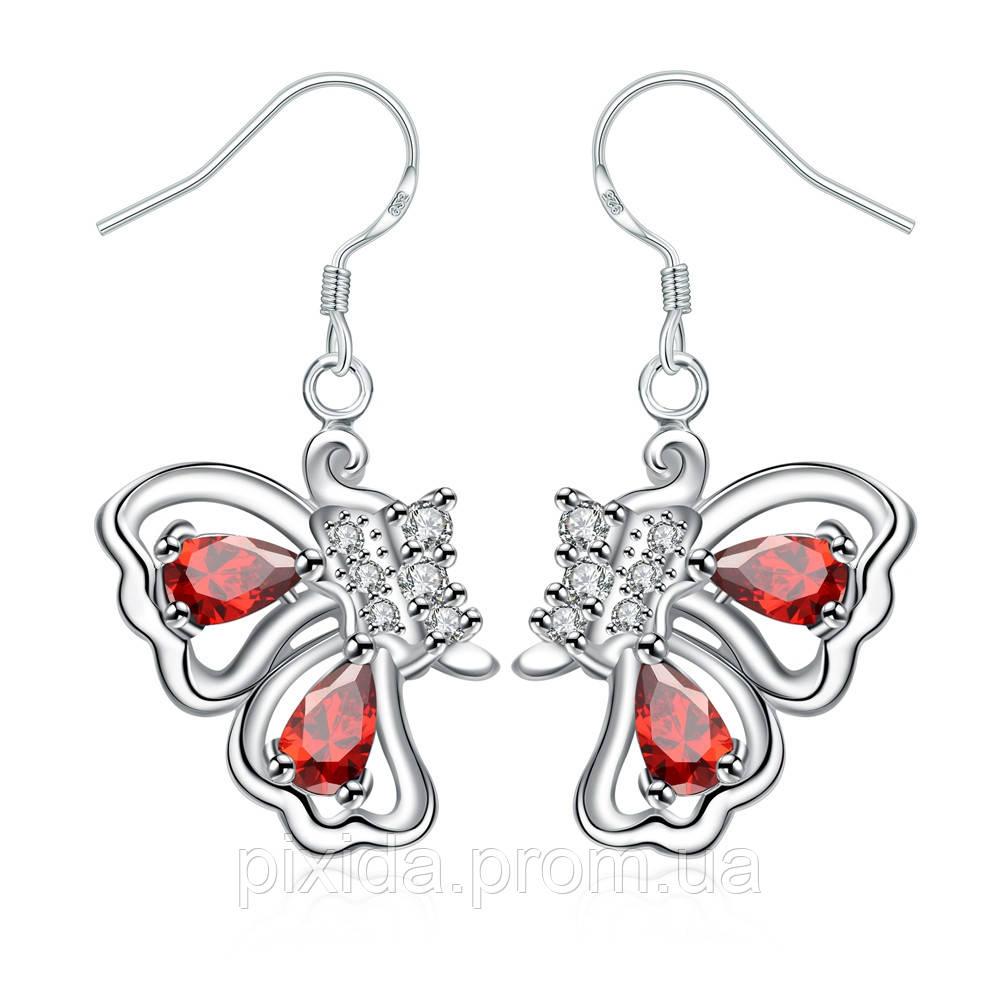 Сережки Бабочки покрытие 925 серебро 2 цвета