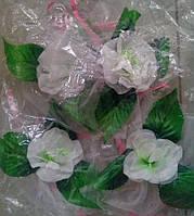 Цветы на ручки свадебного авто (белая роза) 4 шт.
