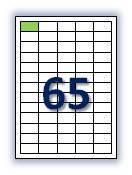 Этикеток на листе А4: 65 шт. Размер: 38,1х21,2 мм.