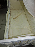 Набор детского постельного белья Жаккард бежевый Bonna 9 в 1 + ДЕРЖАТЕЛЬ ДЛЯ БАЛДАХИНА В ПОДАРОК!