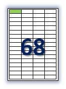 Этикеток на листе А4: 68 шт. Размер: 48,5х16,9 мм.