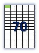 Этикеток на листе А4: 70 шт. Размер: 42х21,2 мм.