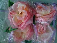 Цветы на ручки свадебного авто (персиковая роза) 4 шт.