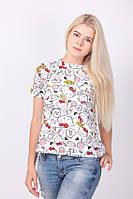 """Милая футболка для стильных девушек """"Китти"""", одноразмерная"""