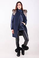 Комплект куртка и жилет из кашемира с мехом енота Т 32