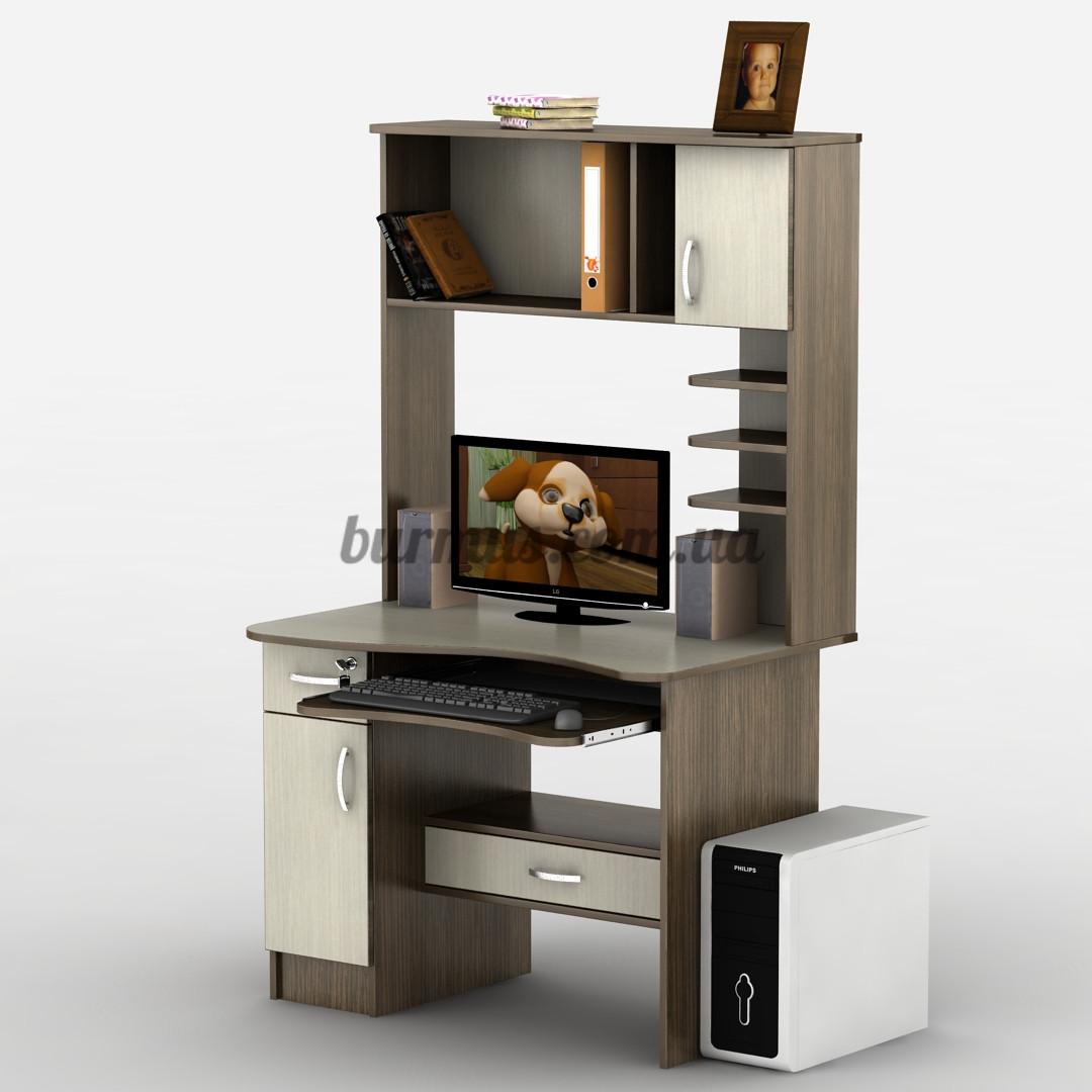 Компьютерный стол с выдвижным ящиком под замком СК-27, дуб молочный+ венге магия