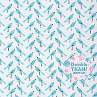 Ткань хлопковая Mist с птицами, цвет бирюзовый с голубым оттенком ( № 347м)