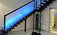 Стеклянное ограждение на лестницу