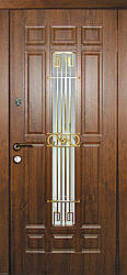 Дверь входная Астория со стеклом и ковкой серии Премиум ТМ Каскад