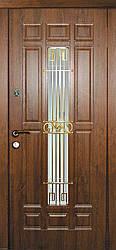 Двері вхідні металеві Асторія зі склом і ковкою серії Класик ТМ Каскад