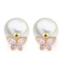 Серьги позолоченные Mise En Dior бабочка