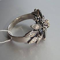Серебряное кольцо в виде цветка с черными фианитами, фото 2