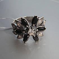 Срібне кільце у вигляді квітки з чорними фіанітами, фото 3