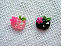 Декор для бантов и скрапбукинга.   Яблоко с цветком.