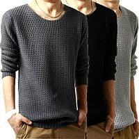 Мужской легко вязанный свитер с вырезом, фото 1