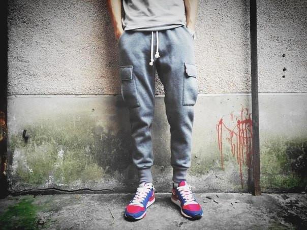 Хлопковый штаны с карманами на резинке
