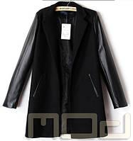 Пальто с кожаными рукавами, фото 1