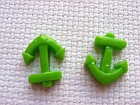 Декор для бантов и скрапбукинга. Зеленый якорь