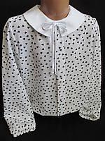 Нарядные блузы с сердечками и белым воротником., фото 1