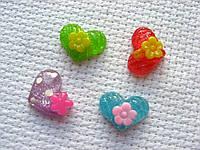Декор для бантов и скрапбукинга. Сердце со цветком