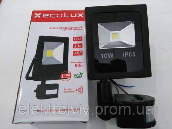 Прожектор LED ECOLUX 10 с датчиком движения, фото 2