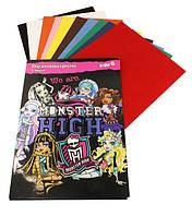"""Цветная бумага А4 бархат (10цветов 10листов) Kite """"Monster Hight"""""""